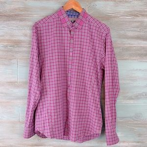 Ted Baker London Pink Plaid L/S Button Down Shirt